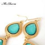 Gold-Tone 두 배 파란 눈물방울 모조 다이아몬드 합금은 귀걸이 모방 보석을 매단다
