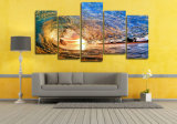 HD Impreso Luz del atardecer que refleja en la pintura de la onda en la decoración de la sala de la lona Impresión de la imagen del cartel Mc-047