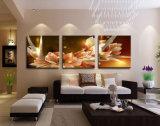 نوع خيش صورة زيتيّة ثروة ورفاهية زهرات ذهبيّة 3 قطعة فنّ صورة منزل زخرفة على نوع خيش صورة زيتيّة حديثة [مك-185]