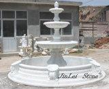 Fonte de água de pedra branca da escultura para a decoração do jardim