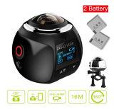 WiFi cámara panorámica de 360 grados 1920×1080, 30 fps, lente 360 inalámbrica deportes de acción modo VR panorama 3D Mini cámara DV Player 1.5inch Mostrar resistente al agua 30m