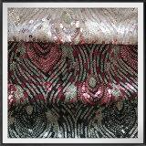 網の地上のスパンコールの刺繍のレースの網のスパンコールのレース