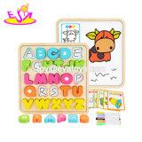 Novas letras do alfabeto educativo mais quente em 3D de madeira Puzzle brinquedo para o bebé W14b086