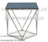 현대 선그림 현대 훈제 유리제 스테인리스 끝 측 테이블