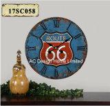 Orologio di parete di legno della decalcomania del documento della stampa del MDF di disegno classico dell'itinerario 66 dell'oggetto d'antiquariato della decorazione dell'annata