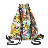 Mezcla de poliéster de color Lady Gymsack Ocio Drawstring Backpack Bag