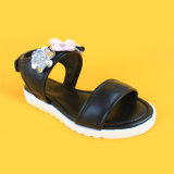 Ботинки белизны черноты сандалий кожаный цветка способа детей самые новые Beaded Breathable