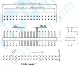Fase: 1,0mm linhas duplas pino conector de pinos com estilo Reta