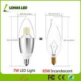 7W (65W Halogenbirne-Äquivalent) E12 E14 LED Kerze-Glühlampe mit Cer RoHS verzeichnete