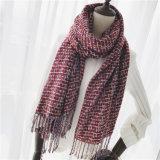 標準的な点検された編まれた冬の印刷のショールのスカーフ(SP306)のような女性のカシミヤ織