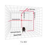 3 linhas cruzam a linha auto que nivela o nível vermelho do laser