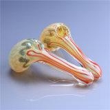 Tubulação de vidro da colher da tubulação ambarina de vidro de vidro da mão do tabaco da tubulação de água da tubulação