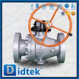 Didtek forjó pulgadas sin reducción en la sección de paso del muñón de acero las 6, vávula de bola suave del lacre 600lb con el engranaje de gusano