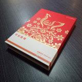 Contenitore di regalo di carta grigio di qualità con il marchio timbrato oro della Rosa di ampia area per i presente di nuovo anno dell'azienda