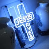 Le signe au néon en verre allume Jésus pour l'affiche de Chambre de pièce