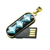 Movimentação instantânea da pena do USB da colar de cristal bonita do diamante do metal
