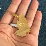 Los hombres de un diseño simple Hip Hop Colgante Collar de Oro orando mano Mjhp052