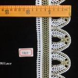 tissu de lacet de garniture d'or de lames d'olive de forme de dôme de la géométrie de 8.5cm Shantou pour le vêtement Hme865