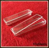 Cuarzo transparente rectangular de vidrio de sílice la placa de Petri con Sábana tapa