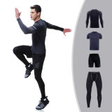 Ropa de deportes Alto-Elástico de la gimnasia 4PCS/Set de la ropa corriente del desgaste de la aptitud de los hombres del invierno