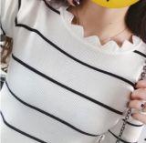 Круглой горловины волнистые Пуловер из половины втулки Tattoo (BTQ215)