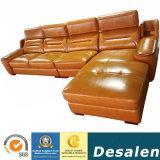 Feria de Canton China tapizado de muebles de hogar en forma de L sofá de cuero auténtico (A78-1)