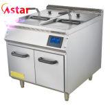 Contre- première friteuse profonde électrique de film publicitaire pour le matériel de nourriture de cuisine de machine de poissons de poulet de pommes chips