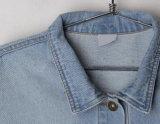 Revestimento exterior do revestimento da sarja de Nimes do colar do polo das mulheres da forma