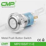 Commutateur de bouton poussoir de enclenchement imperméable à l'eau en métal de 16mm