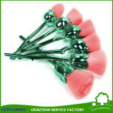 Cepillos de nylon del maquillaje de la flor de Rose de la maneta del verde del pelo de la alta calidad 6PCS