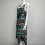 Aktiver Druck-dickflüssiges langes Kleid mit binden oben zurück
