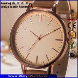 Montre-bracelet faite sur commande de dames de courroie en cuir de mode (WY-P17008C)
