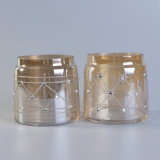 Sostenedores de vela de cristal del Ion-Laminado con la decoración del laser y del diamante