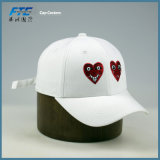 Casquette de baseball faite sur commande de logo de broderie de panneau blanc du coton 6