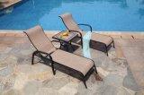 Les meubles en aluminium de patio placent les présidences de salon extérieures de piscine d'hôtel avec la table basse latérale