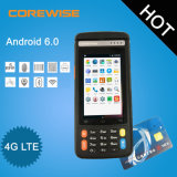 Posição 4G Termnal Handheld do Android 6.0 com impressora térmica, WiFi, GPS, Bluetooth, leitor de cartão da sustentação RFID e varredor da impressão digital