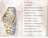 Belbi Simple Dial Business Wrist Watches Analog Ultra-Thin Stainless Steel for Women Customer Logo and Wordings Edge Be Caved gold Imprinted one The Watches