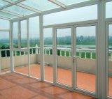 Diseño caliente Panel de doble giro de UPVC ventana con doble vidrio