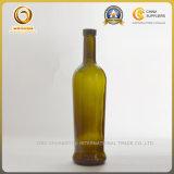 бутылка вина плоского дна стеклянной бутылки вина зеленого цвета Antique отделки пробочки 750ml (1146)