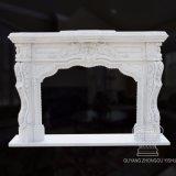 Lado Francês de mármore esculpido lareira em mármore branco Mantel,