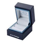 Lujo personalizado de cuero de color azul marino el papel de regalo de plástico de joyería Anillo de embalaje