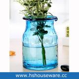 Vaso di vetro fatto a mano dell'azzurro di oceano con la corda della iuta