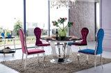 Tabella pranzante di vetro del metallo moderno della sala da pranzo rotonda per l'hotel