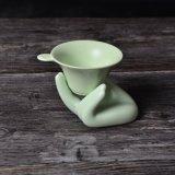 Pintura manual Flower Ceramic chaleira com caixa de madeira