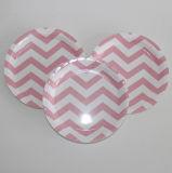 Plaques en papier jetable rose Chevron, assiettes à gâteaux, plaques jetables