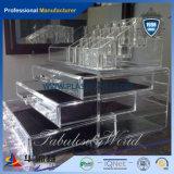 Schwarzer Acrylschaukarton mit Stöpsel-Haken, Acrylverfassungs-Bildschirmanzeige, Acrylstandplatz