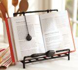 Livro de receitas de livro de madeira e suporte de almofada
