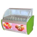 Halb gebogenes horizontales Eiscreme-Glasverkaufsmöbel mit 20 Wannen