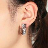 개인화된 디자인 형식 십자가 검정 수정같은 굴렁쇠 귀걸이