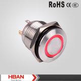 interruptor de tecla redondo liso do anel do diodo emissor de luz do aço do UL RoHS de 16mm TUV